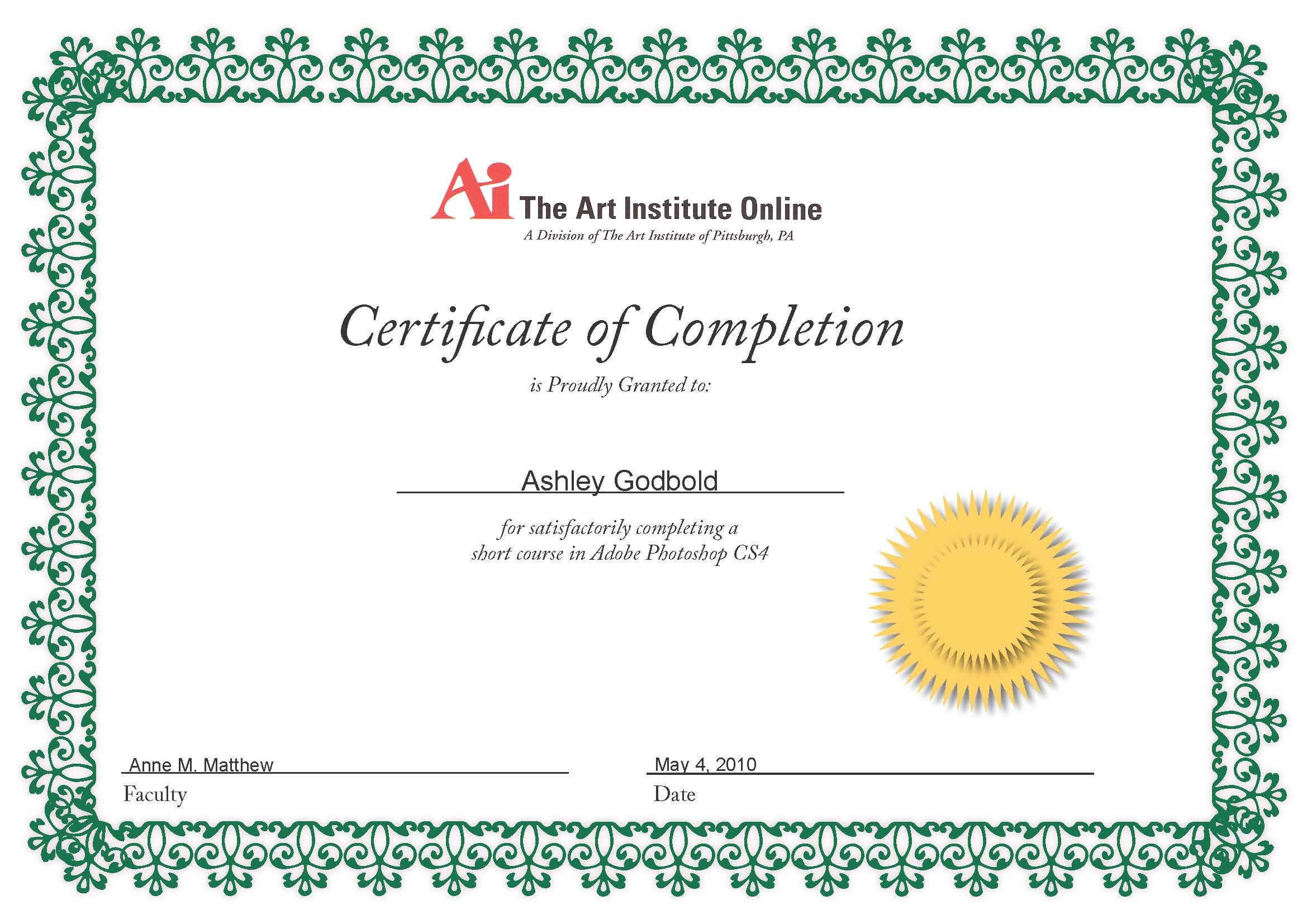 photoshop certificates