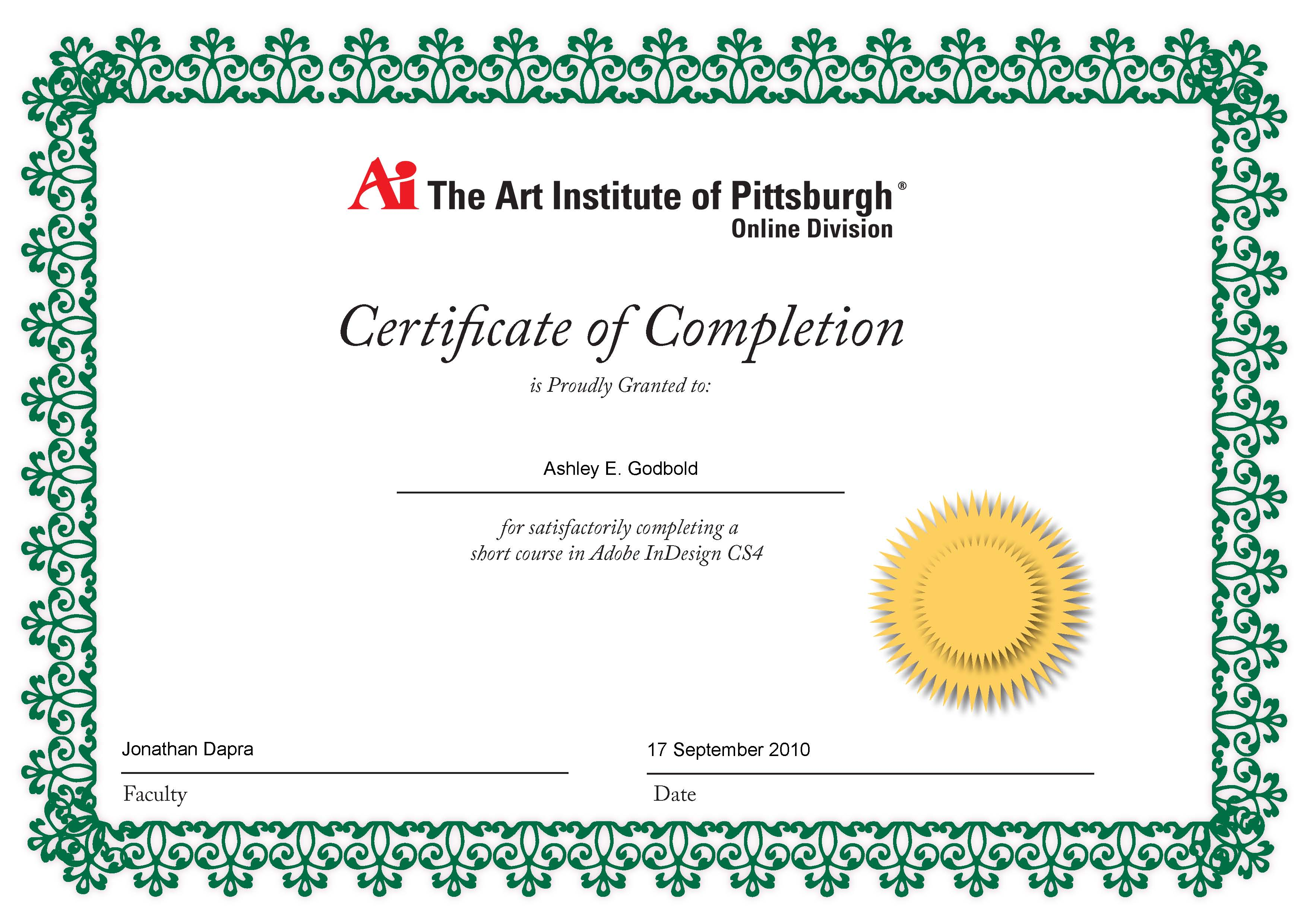 First color theory assignment and certificates of completion adobe indesign cs4 short course certificate of completion 1betcityfo Image collections
