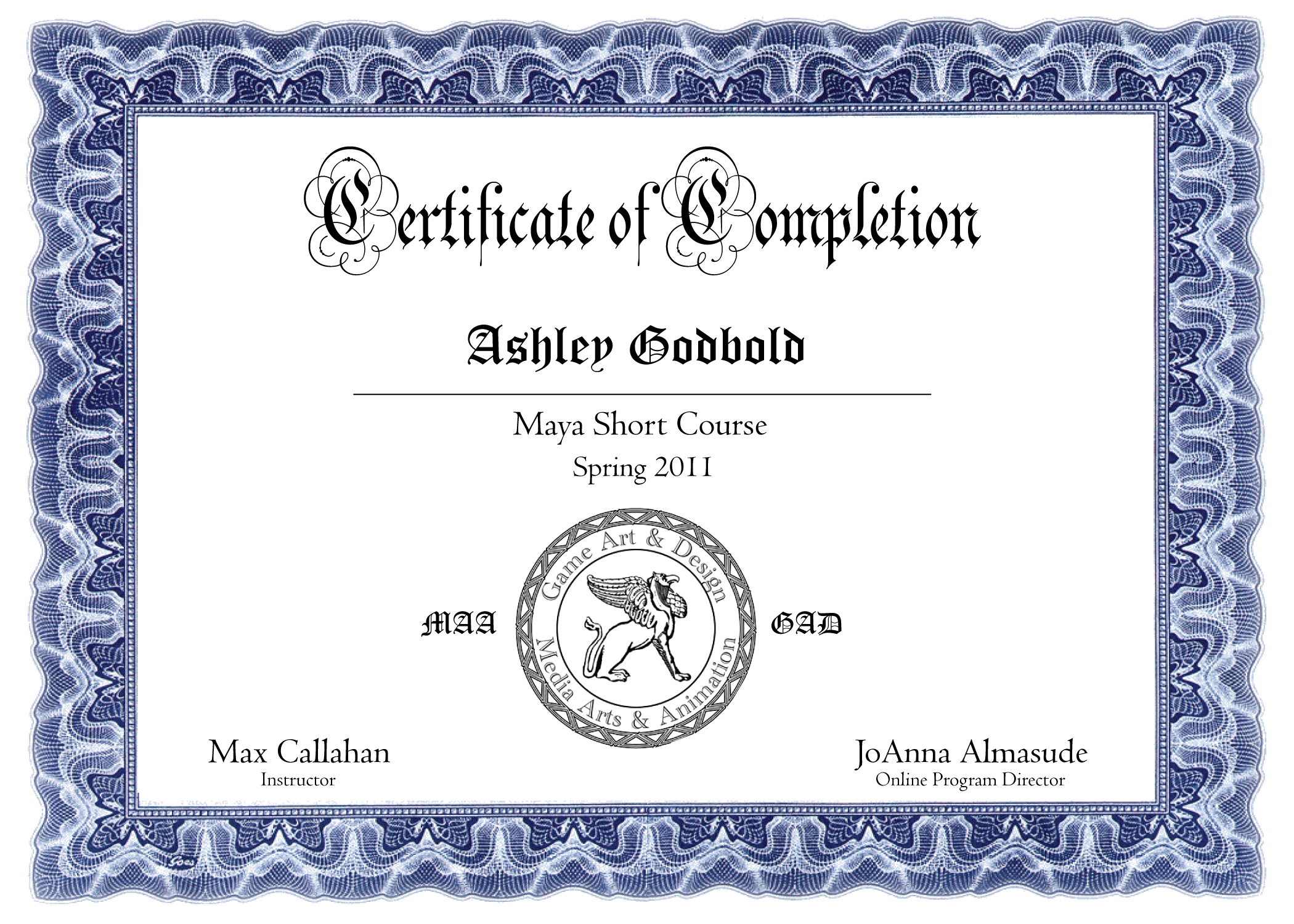 Maya Short Course Certificate Of Completion Ashley Godbold 39 S Blog