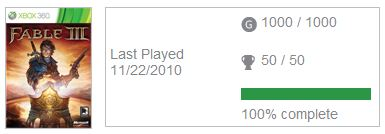 100% in Fable 3 | Dr  Ashley Godbold's Blog