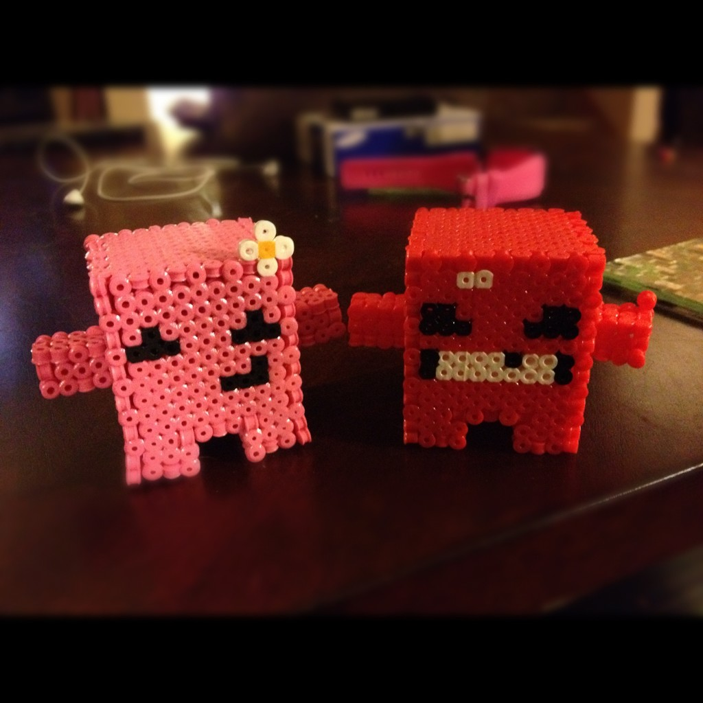 My Homemade Minecraft Creeper Super Meat Boy And Fez Figures Dr