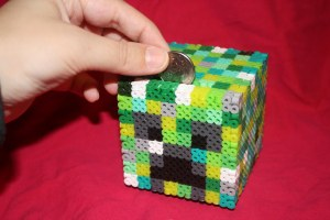 Minecraft creeper inspired piggy bank
